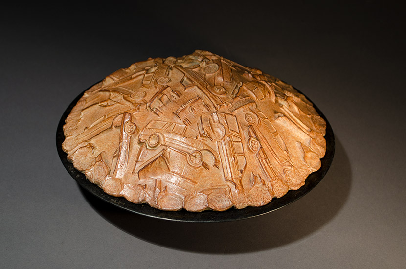 "Nostalgia Pie, 2016, 9x5.5"" , unique bronze and pie pan"